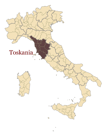 Mapa włoch - region Toskanii